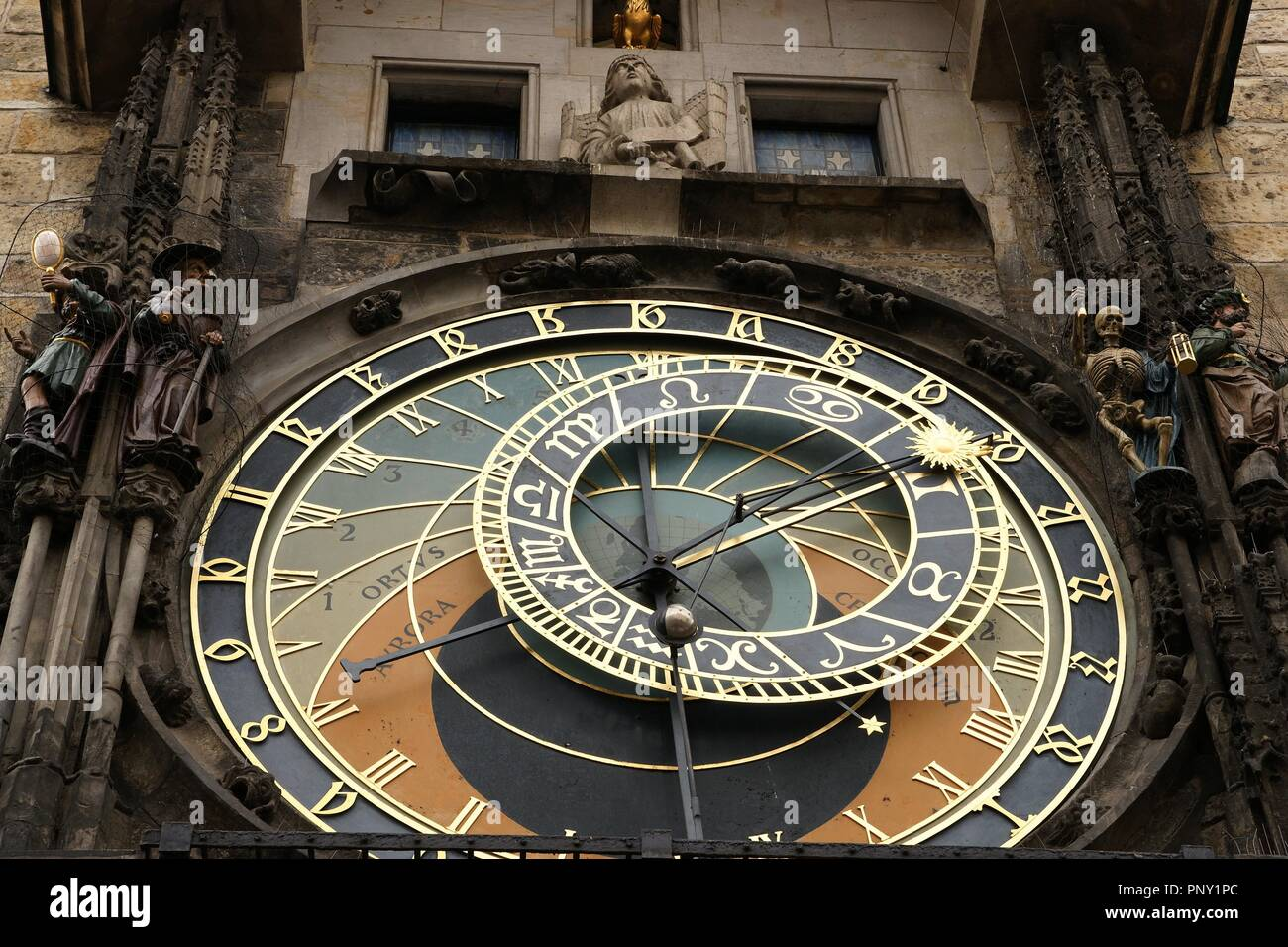 The Prague Astronomical Clock or Prague Orloj mounted on the southern wall of Old Town City Hall in the Old Town Square. Astronomical dial.  Czech Republic. - Stock Image