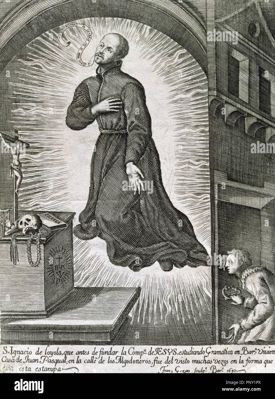 """IGNACIO DE LOYOLA, San (Iñigo López de Loyola). (Loyola-Azpeitia, 1491-Roma, 1556). Fundador de la Compañía de Jesús (1537). Fue canonizado en 1622. """"SAN IGNACIO LEVITANDO"""". Grabado del año 1693. Stock Photo"""
