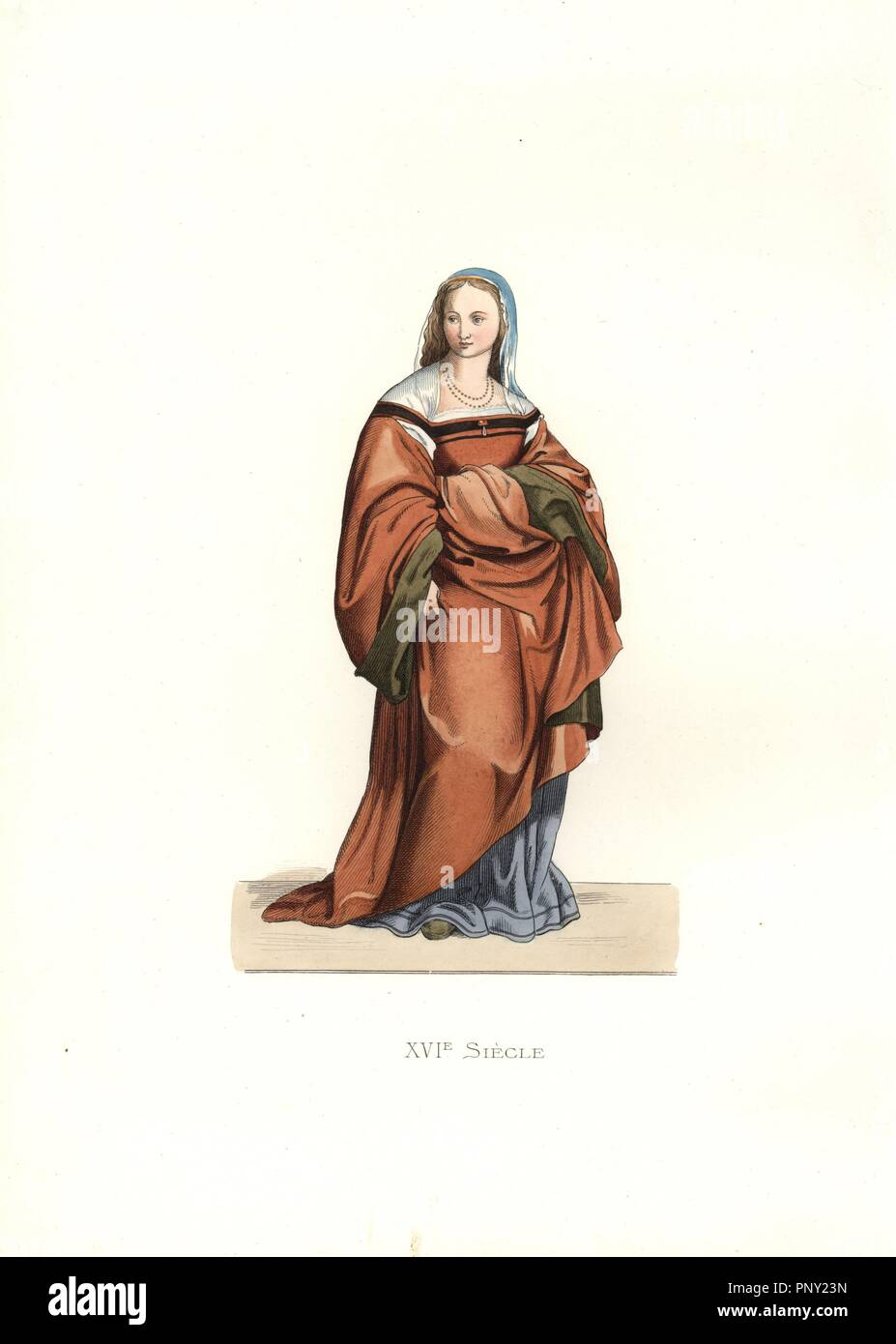 """Lady of Florence, 16th century, from a fresco by Andrea del Sarto. Long, full brown gathered dress, blue underdress, blue veil, necklace.. Handcolored illustration by E. Lechevallier-Chevignard, lithographed by A. Didier, L. Flameng, F. Laguillermie, from Georges Duplessis's """"Costumes historiques des XVIe, XVIIe et XVIIIe siecles"""" (Historical costumes of the 16th, 17th and 18th centuries), Paris 1867. The book was a continuation of the series on the costumes of the 12th to 15th centuries published by Camille Bonnard and Paul Mercuri from 1830. Georges Duplessis (1834-1899) was curator of the P Stock Photo"""