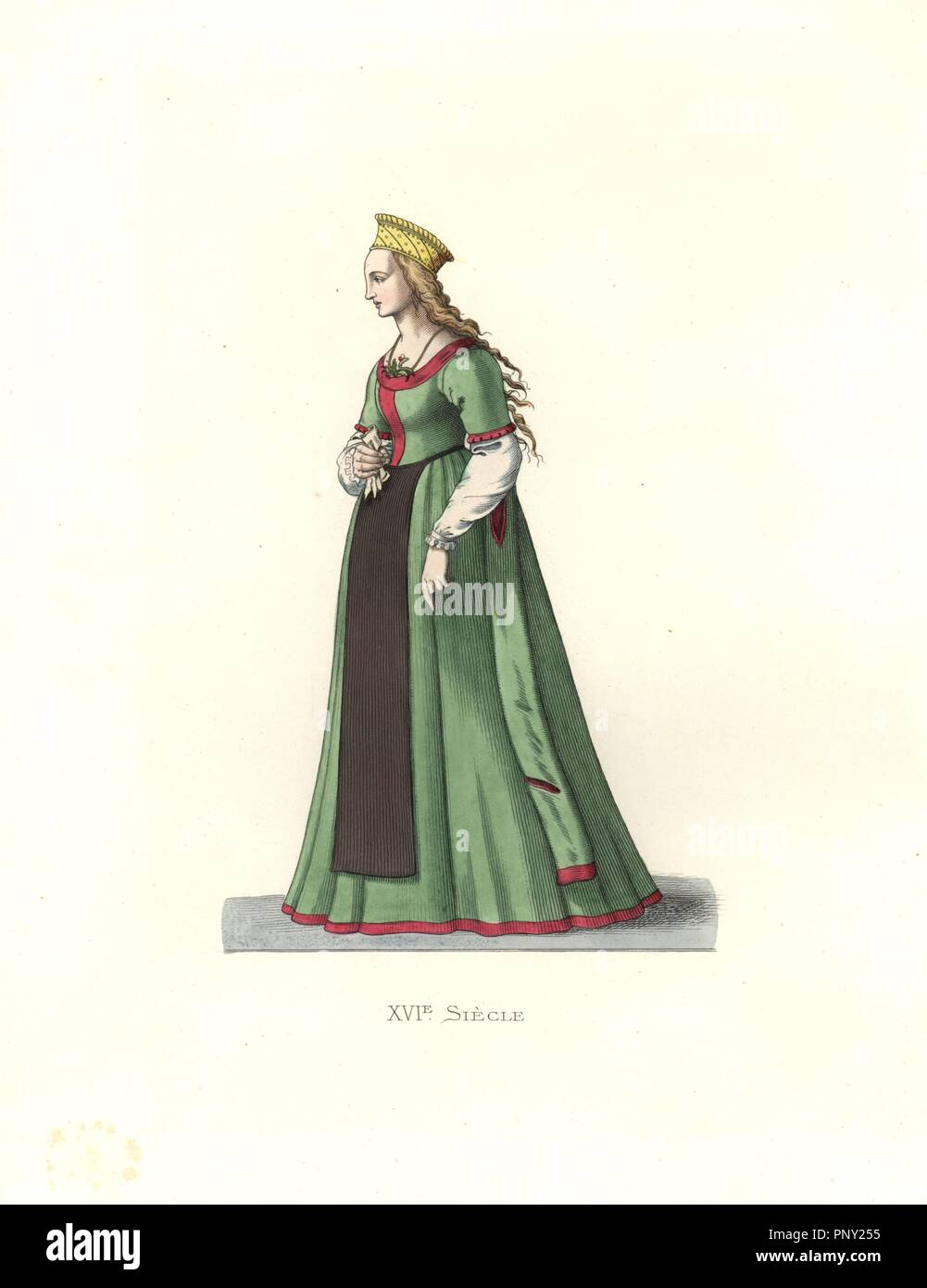 """Young woman from Danzig, 16th century, wearing long green silk dress, black apron, and a gold crown. . Handcolored illustration by E. Lechevallier-Chevignard, lithographed by A. Didier, L. Flameng, F. Laguillermie, from Georges Duplessis's """"Costumes historiques des XVIe, XVIIe et XVIIIe siecles"""" (Historical costumes of the 16th, 17th and 18th centuries), Paris 1867. The book was a continuation of the series on the costumes of the 12th to 15th centuries published by Camille Bonnard and Paul Mercuri from 1830. Georges Duplessis (1834-1899) was curator of the Prints department at the Bibliotheque Stock Photo"""