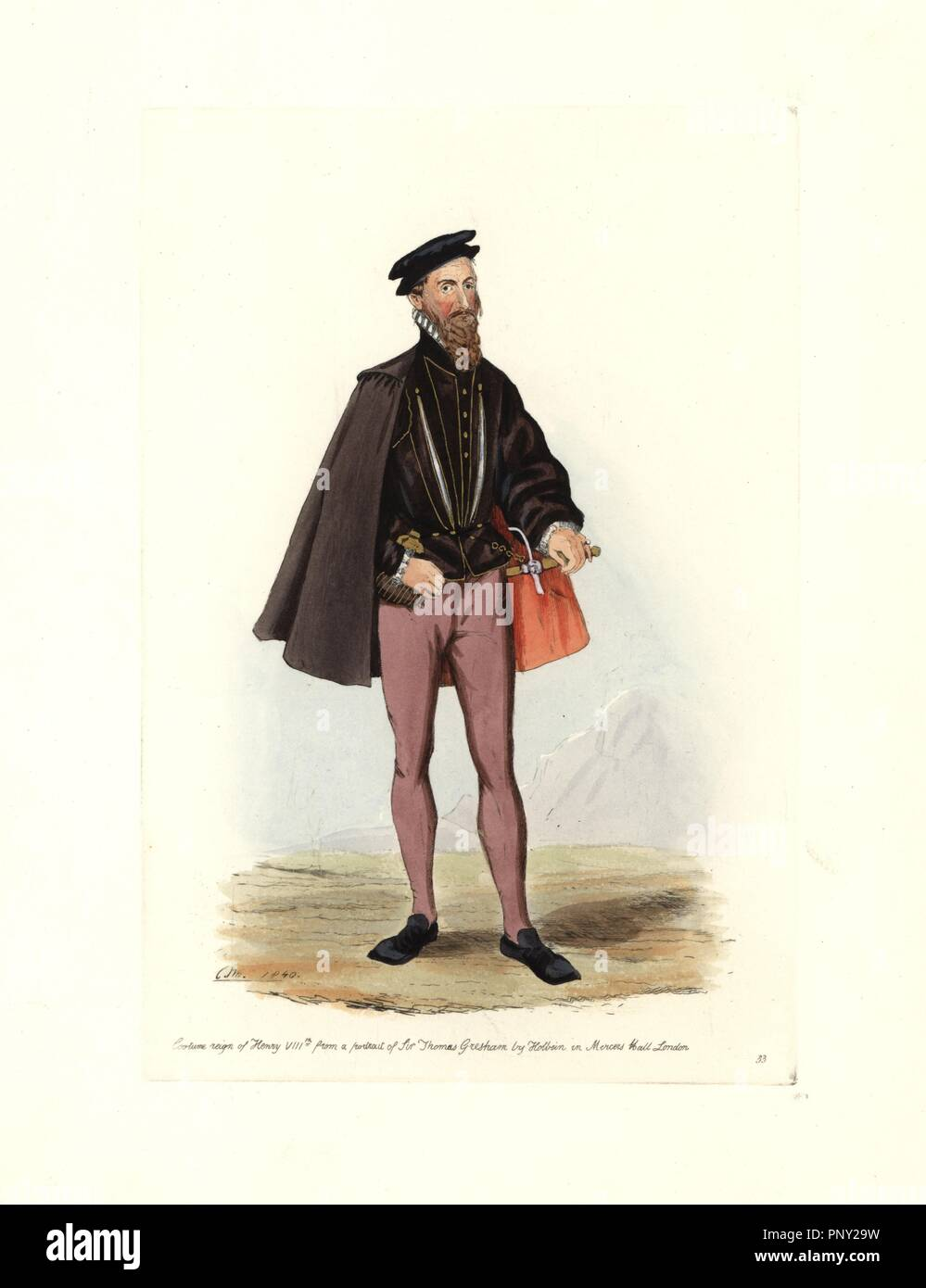 Male costume of the reign of Henry VIII, from a portrait of Sir Thomas Gresham by Holbein in Mercers Hall, London. He wears a slashed jacket, cape, ruff collar, hat, trousers and square-toed shoes. Handcolored engraving from 'Civil Costume of England from the Conquest to the Present Period' drawn by Charles Martin and etched by Leopold Martin, London, Henry Bohn, 1842. The costumes were drawn from tapestries, monumental effigies, illuminated manuscripts and portraits. Charles and Leopold Martin were the sons of the romantic artist and mezzotint engraver John Martin (1789-1854). - Stock Image
