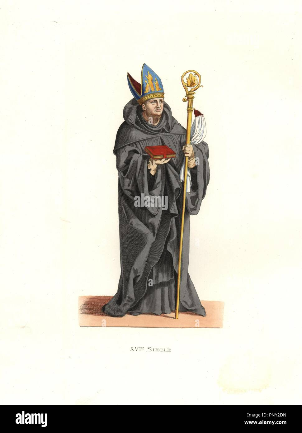 """Benedictine abbot, 16th century, in black robes, carrying a bible and crook, wearing an embroidered mitre.. Handcolored illustration by E. Lechevallier-Chevignard, lithographed by A. Didier, L. Flameng, F. Laguillermie, from Georges Duplessis's """"Costumes historiques des XVIe, XVIIe et XVIIIe siecles"""" (Historical costumes of the 16th, 17th and 18th centuries), Paris 1867. The book was a continuation of the series on the costumes of the 12th to 15th centuries published by Camille Bonnard and Paul Mercuri from 1830. Georges Duplessis (1834-1899) was curator of the Prints department at the Bibliot Stock Photo"""