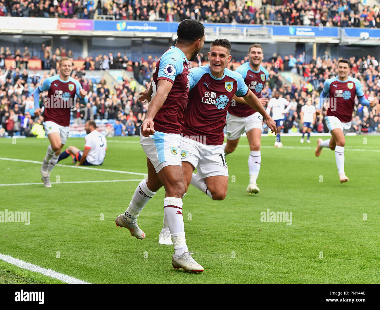 5aceafd3744 Burnley s Aaron Lennon (left) celebrates scoring his side s second goal of  the game during the Premier League match at Turf Moor