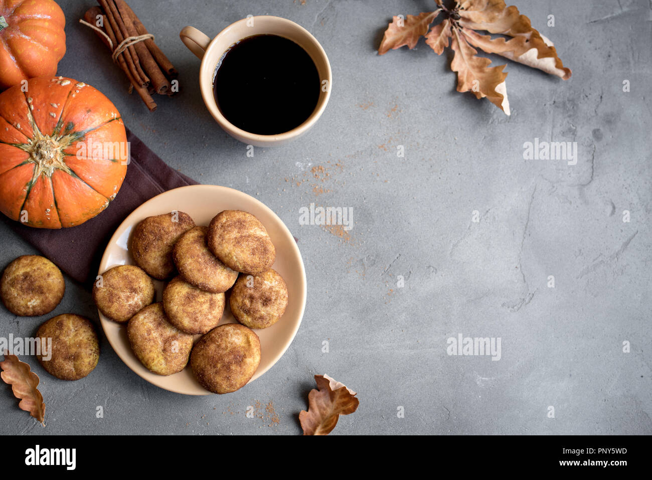 Pumpkin Snickerdoodle Cookies.  Seasonal Autumn Homemade Cookies, top view, copy space. Traditional desert Snickerdoodles for Autumn. Stock Photo