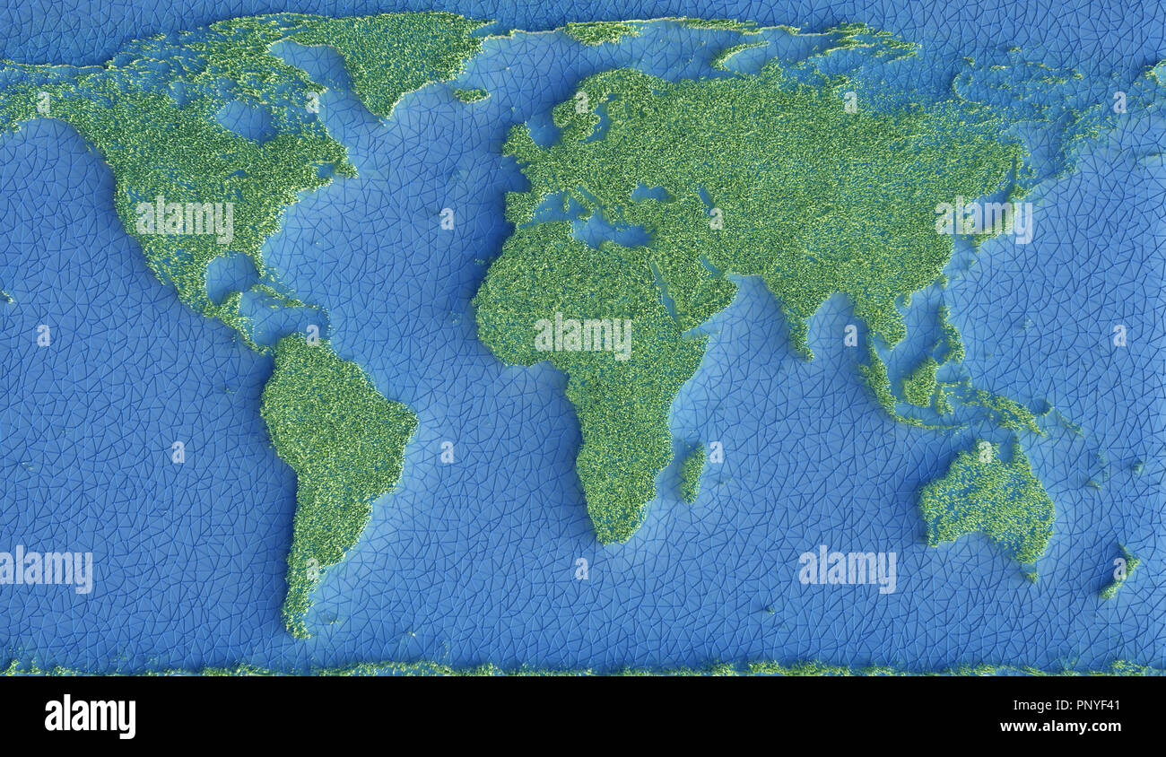Map of the planet Earth represented by green grass and the oceans by a network of connections in blue. 3D illustration. - Stock Image