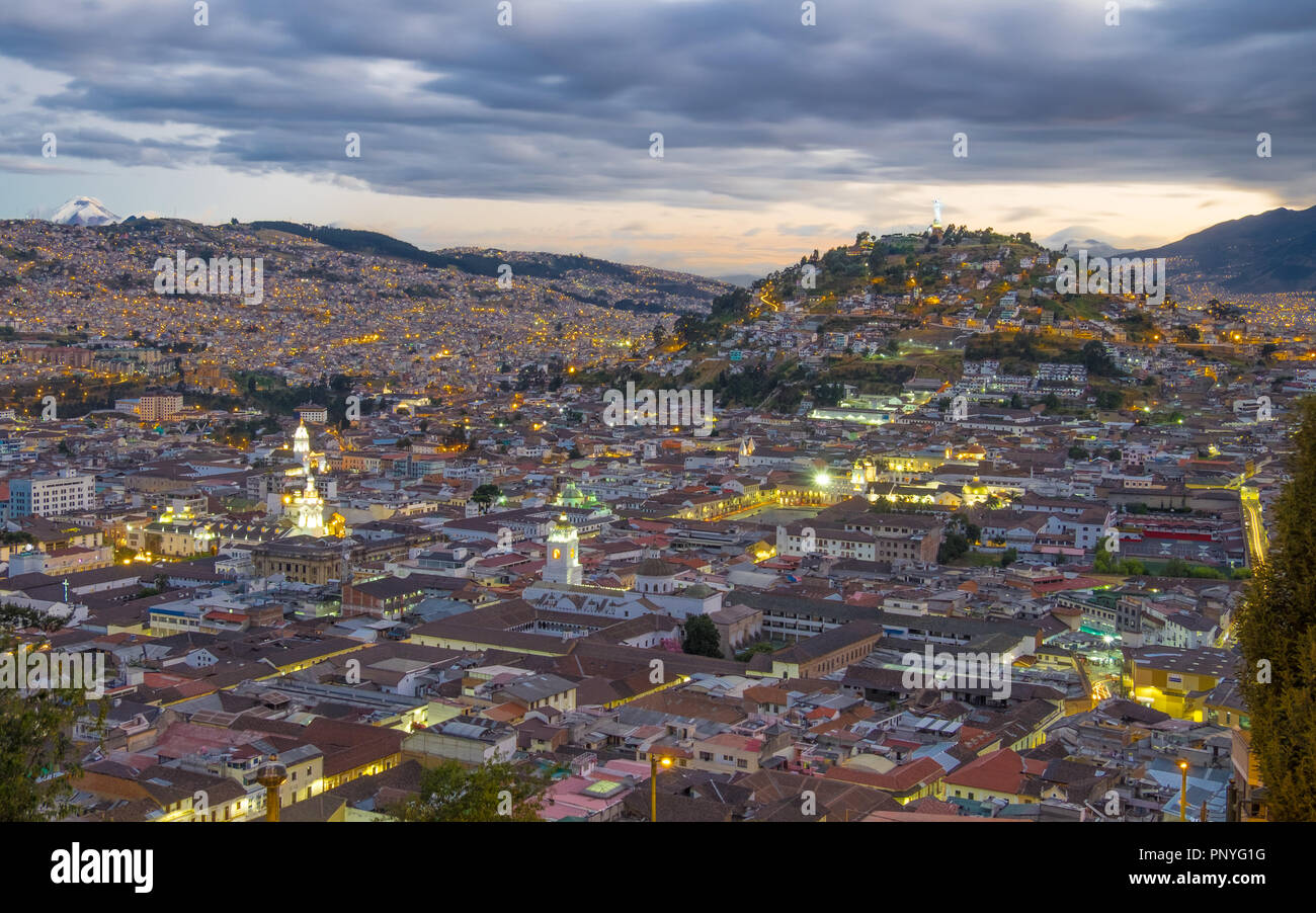 Quito, Ecuador, at night - Stock Image