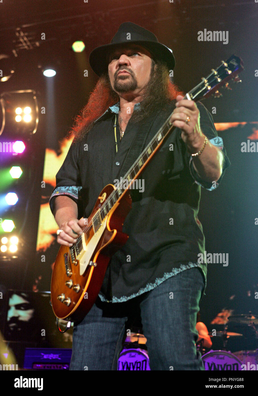 Gary Rossington with Lynyrd Skynyrd performs in concert at the Cruzan Amphitheater in West Palm Beach, Florida on June 10, 2010. Stock Photo