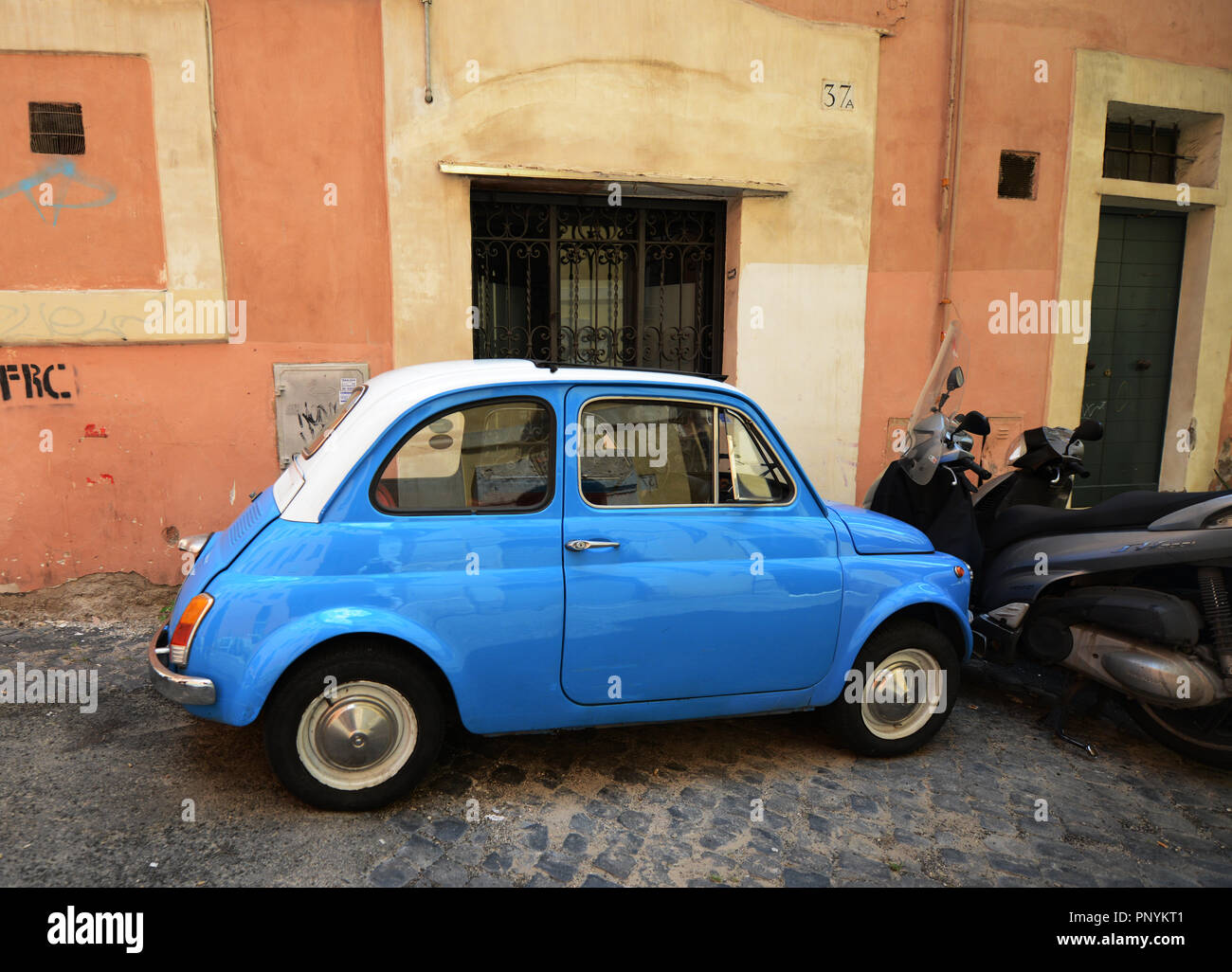 An Old Fiat 500 Car In Rome Italy Stock Photo 220040465 Alamy