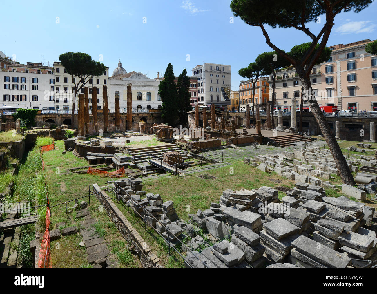 Largo di Torre Argentina is a big square in Rome with many Roman ruins. - Stock Image