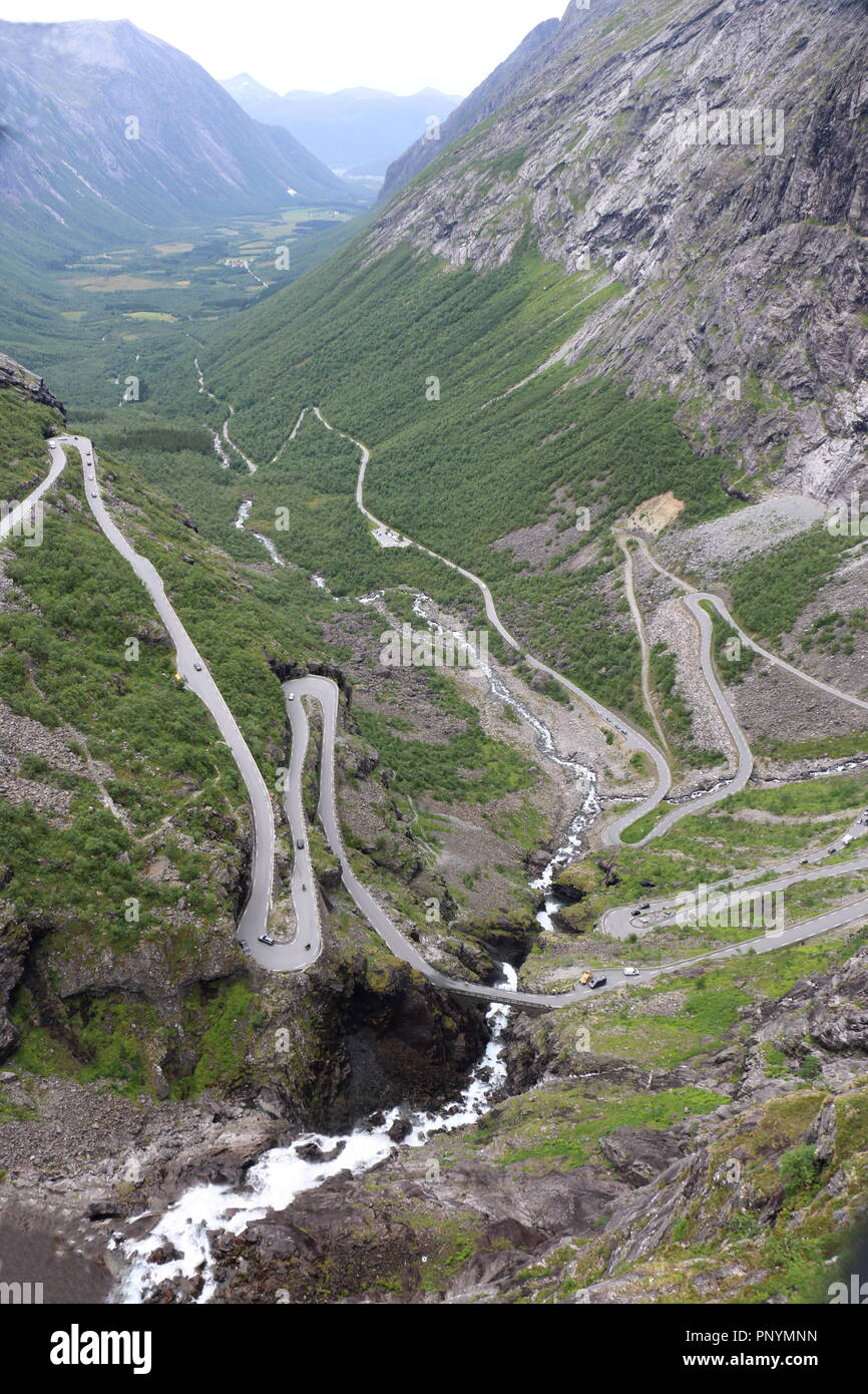 beautiful road at Trollstigen in Norway - Stock Image