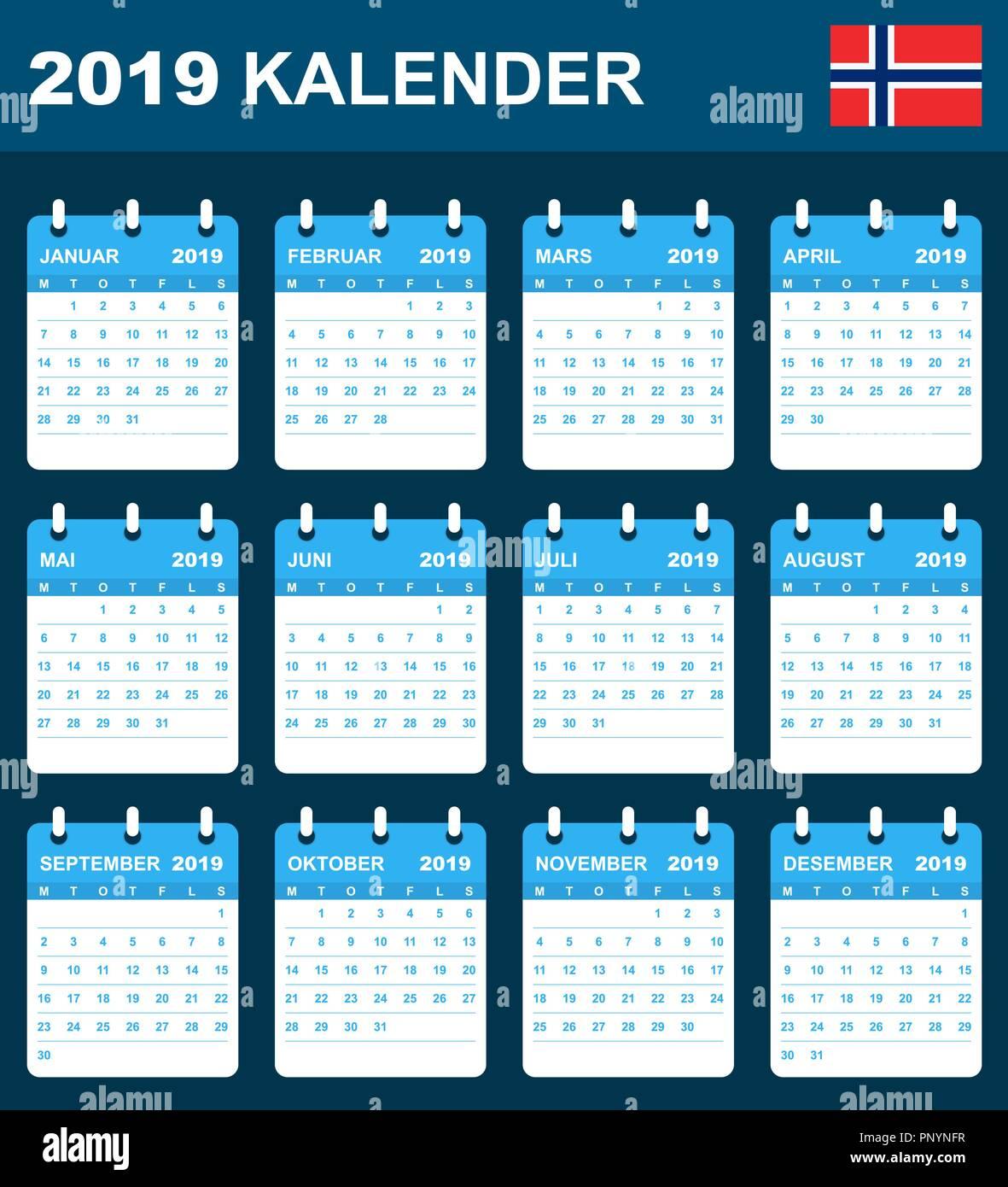 Nfr Calendar.Norwegian Calendar For 2019 Scheduler Agenda Or Diary Template