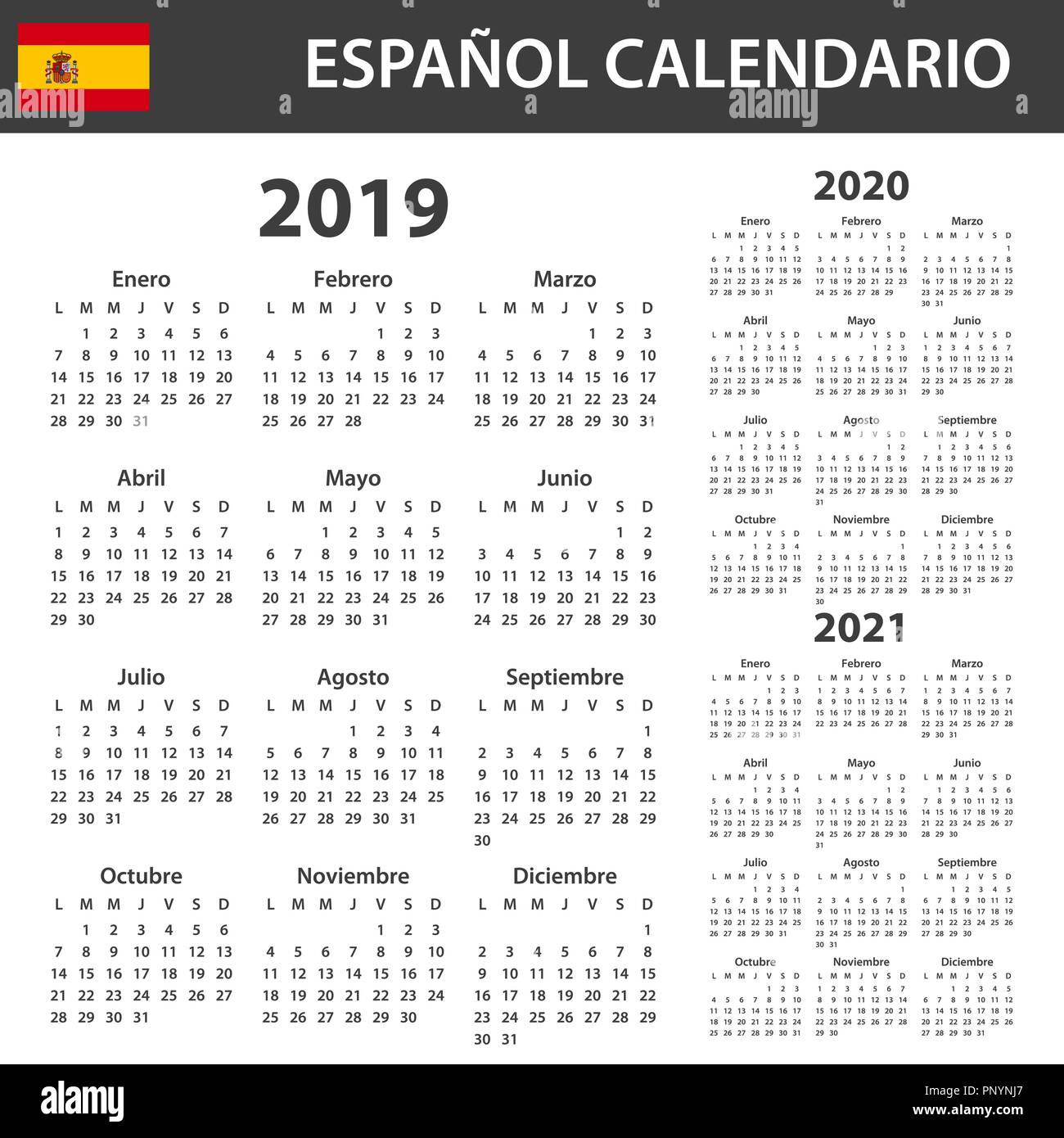 Spanish Calendar For 2019 2020 And 2021 Scheduler Agenda Or Diary