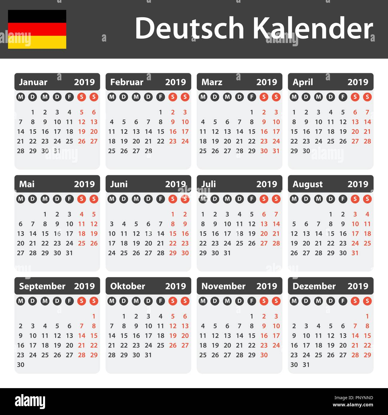 german calendar for 2019 scheduler agenda or diary. Black Bedroom Furniture Sets. Home Design Ideas