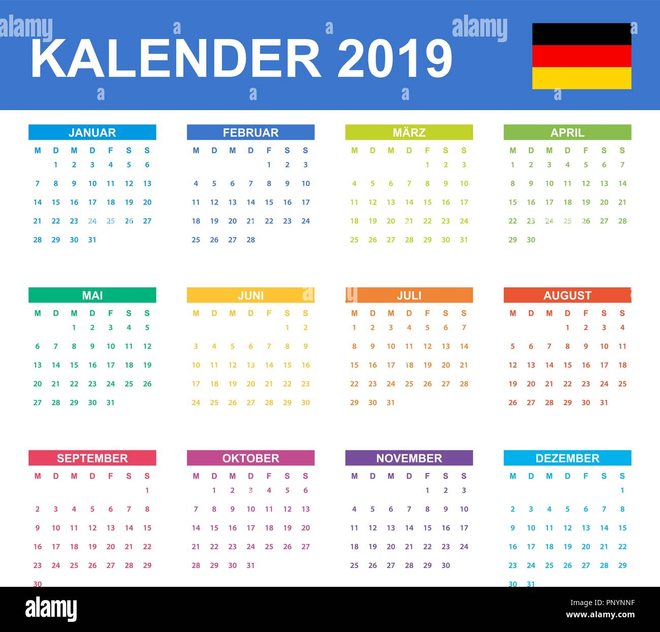 german calendar for 2019  scheduler  agenda or diary