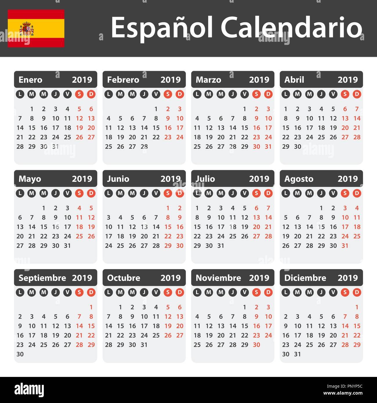 Calendario 2019 Con Numero Week.Spanish Calendar For 2019 Scheduler Agenda Or Diary