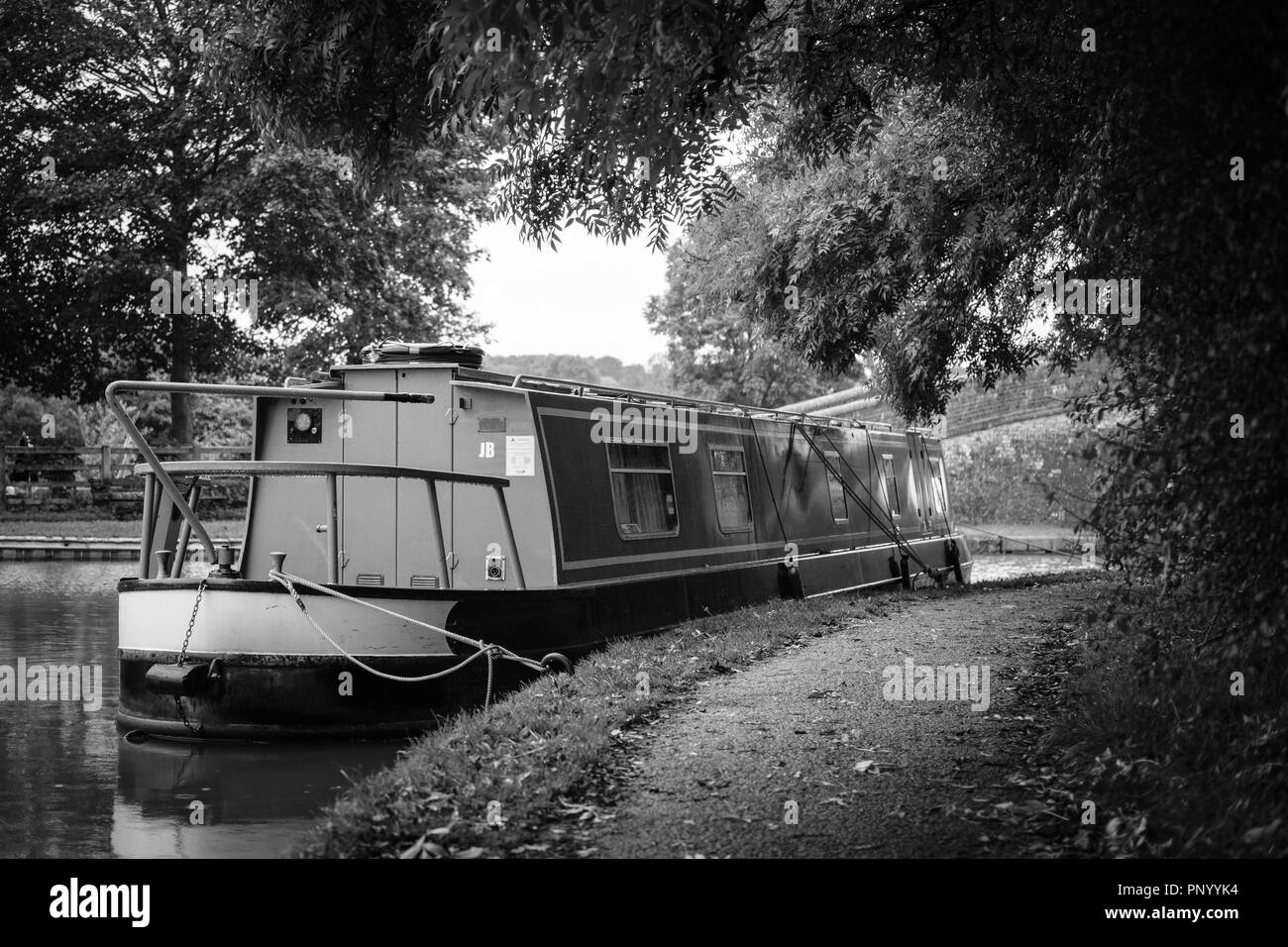 In the Basin. Foxton Locks in Foxton, Leicestershire, are ten canal locks consisting of two 'staircases' each of five locks on the Grand Union Canal. - Stock Image