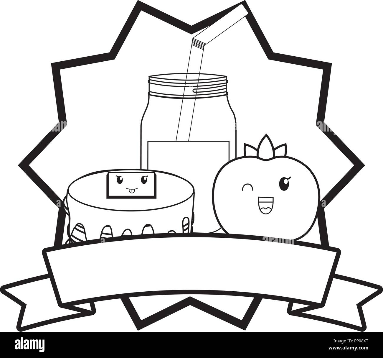 emblem kawaii pancakes and orange juice over white background, vector illustration - Stock Image