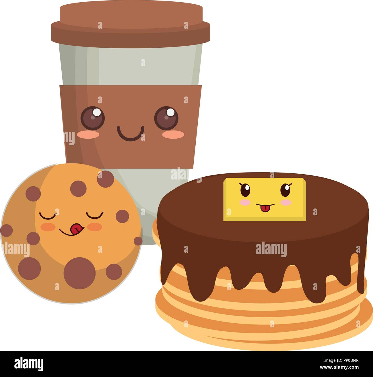 kawaii pancakes with coffee cup and cookie over white background, vector illustration - Stock Image