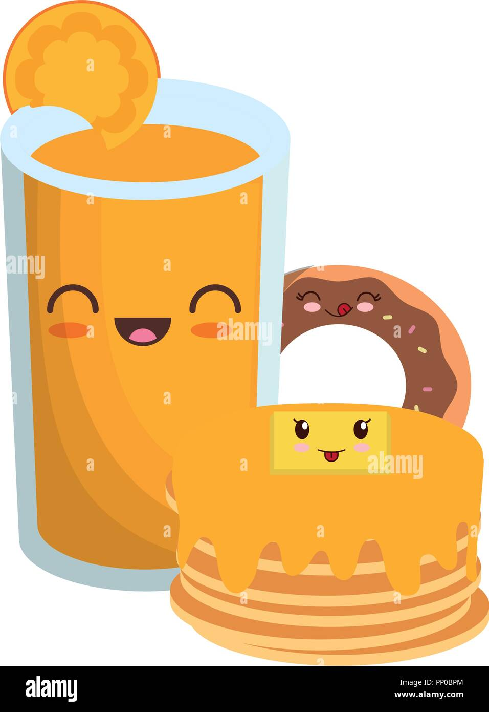kawaii pancakes with orange juice and donut  over white background, vector illustration - Stock Image