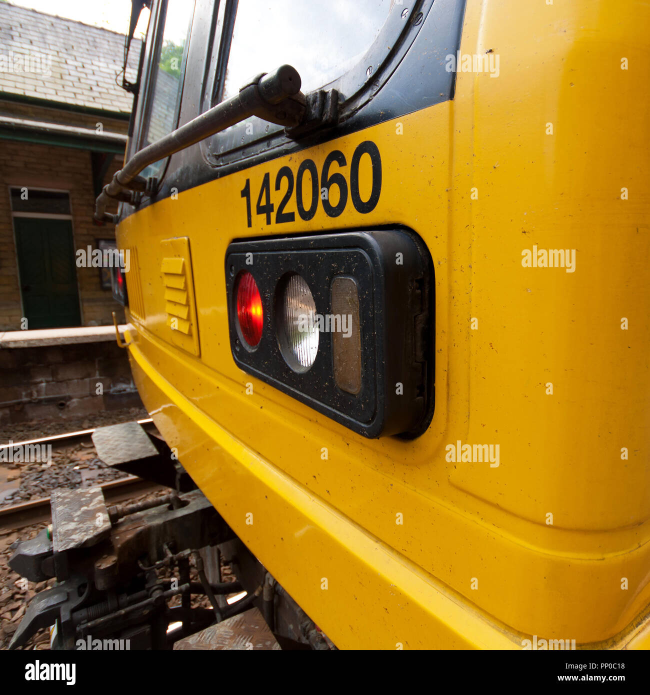 Class 142 Pacer DMU headlight cluster at New Mills Central. - Stock Image