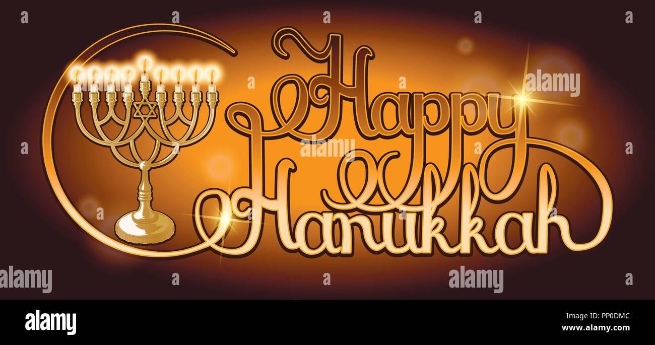 Vector Happy Hanukkah hand lettering. Festive poster, greeting card template with Menorah. - Stock Vector