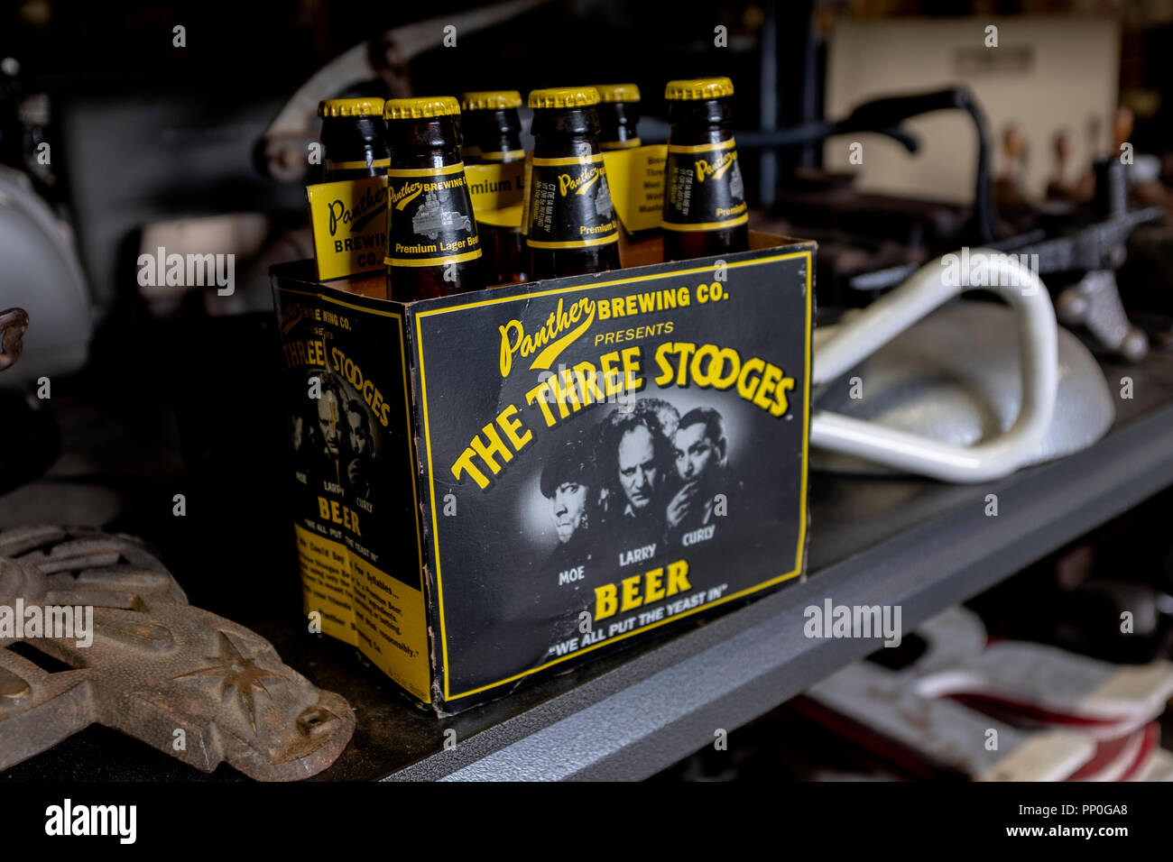six pack of The Three Stooges beer Stock Photo