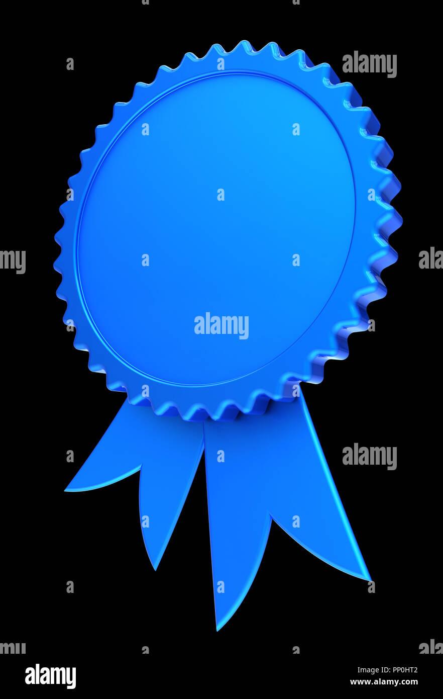 blue award ribbon blank reward medal rosette achievement best badge