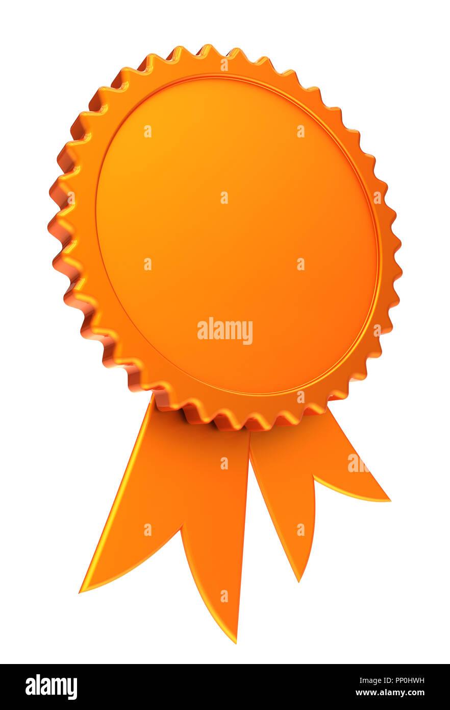 Award Ribbon Golden Reward Medal Rosette Blank Achievement Badge