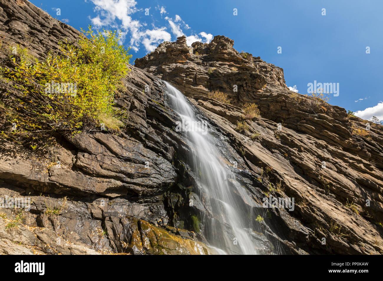 Bridal Veil Falls on Cow Creek in Rocky Mountain National Park, Estes Park, Colorado. - Stock Image