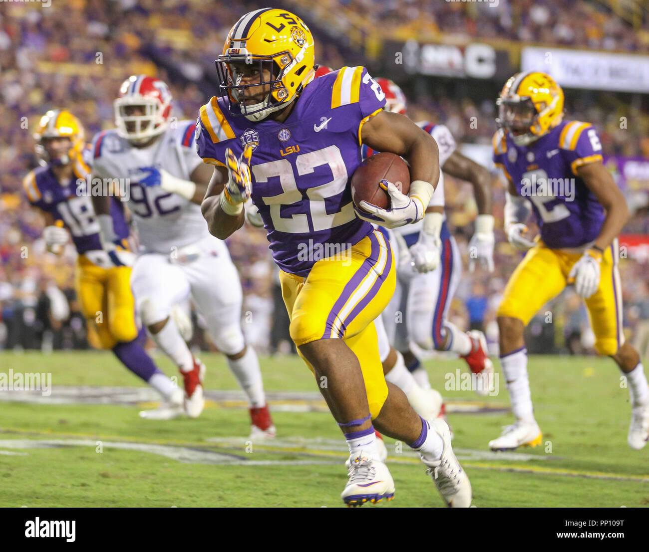 LSU s Clyde Edwards-Helaire  22 darts towards the end zone on a touchdown run  during the NCAA Football game between the LSU Tigrs and the Louisiana ... 1a4112615
