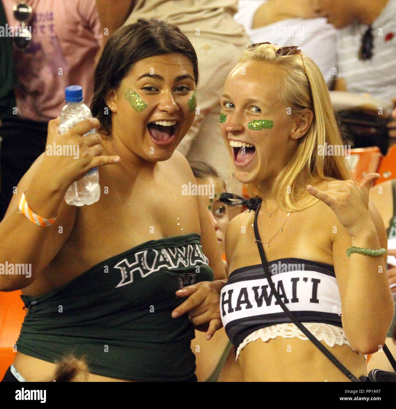 September 22, 2018 - Hawaii fans during a game between the Hawaii Rainbow Warriors and the Duquesne Dukes at Aloha Stadium in Honolulu, HI - Michael Sullivan/CSM Credit: Cal Sport Media/Alamy Live News Stock Photo