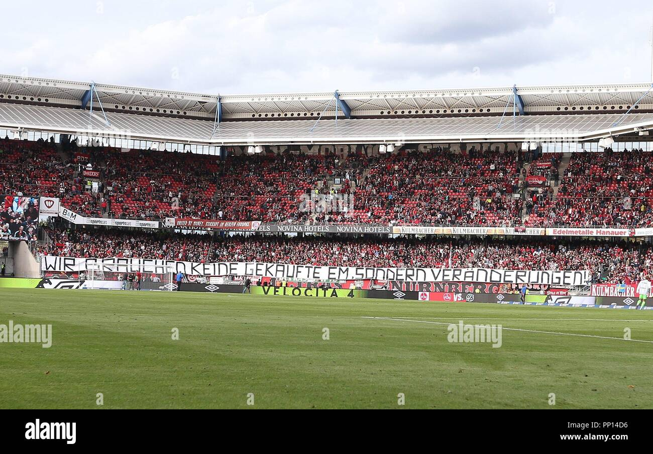 firo: 22.09.2018 Fuvuball, Football: 1.Bundesliga 1.FC Nvºrnberg - Hanover 96, Nvºrnberg, fans, banner, | usage worldwide Stock Photo