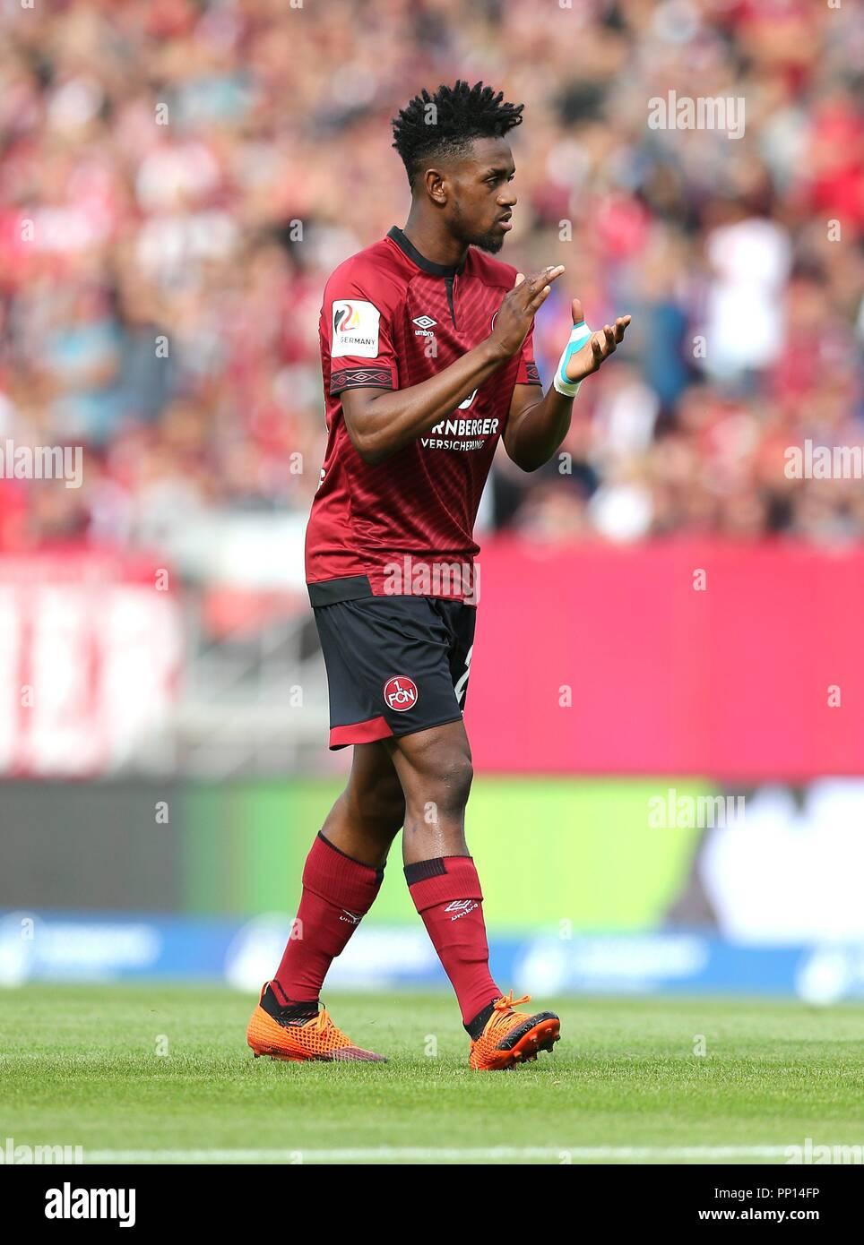 firo: 22.09.2018 Fuvuball, Football: 1.Bundesliga 1.FC Nvºrnberg - Hanover 96, Virgil Misidjan, Nvºrnberg, full figure, gesture | usage worldwide Stock Photo