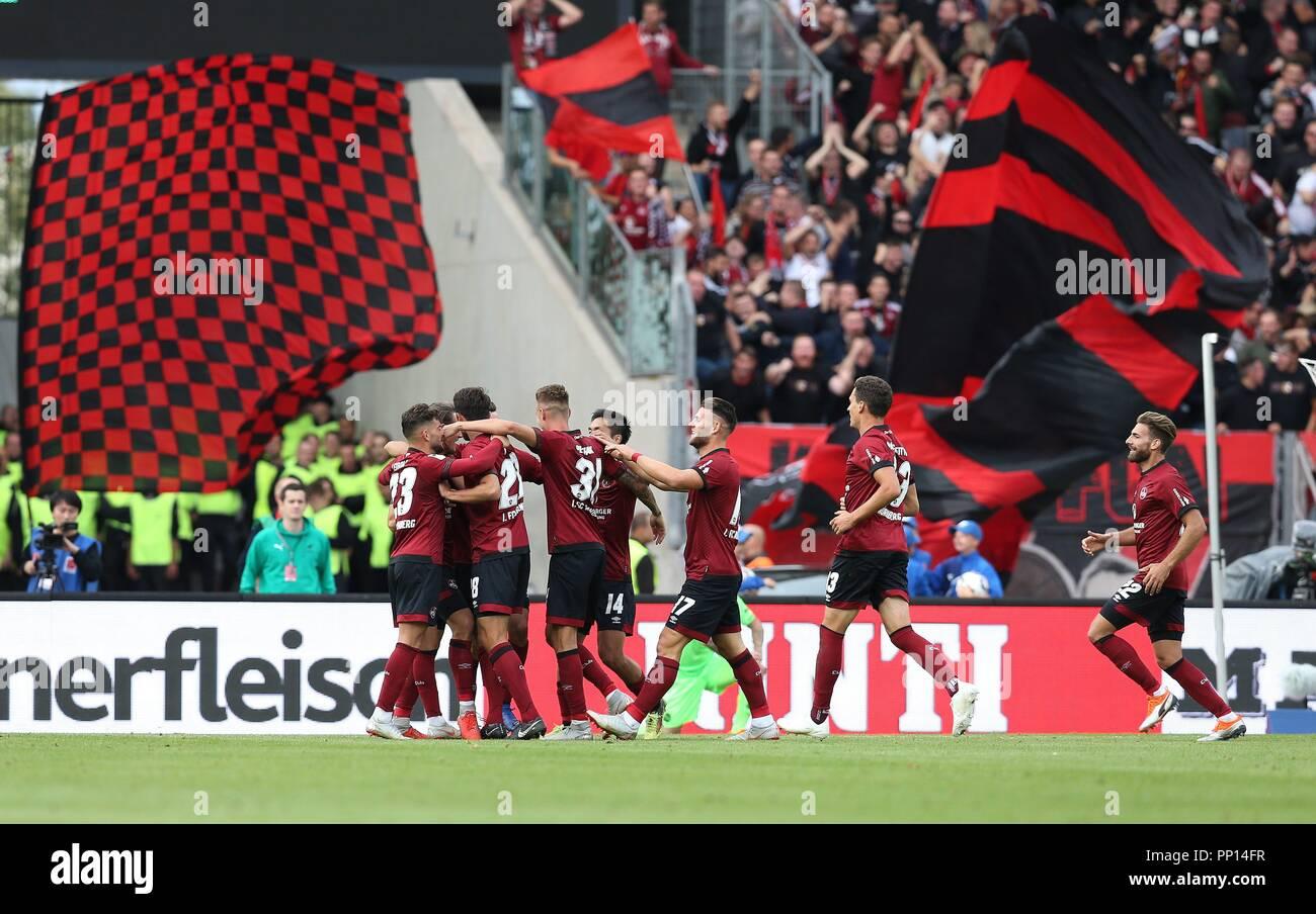 firo: 22.09.2018 Fuvuball, Football: 1.Bundesliga 1.FC Nvºrnberg - Hanover 96 2: 0, Nvºrnberg, whole figures, jubilation, | usage worldwide Stock Photo