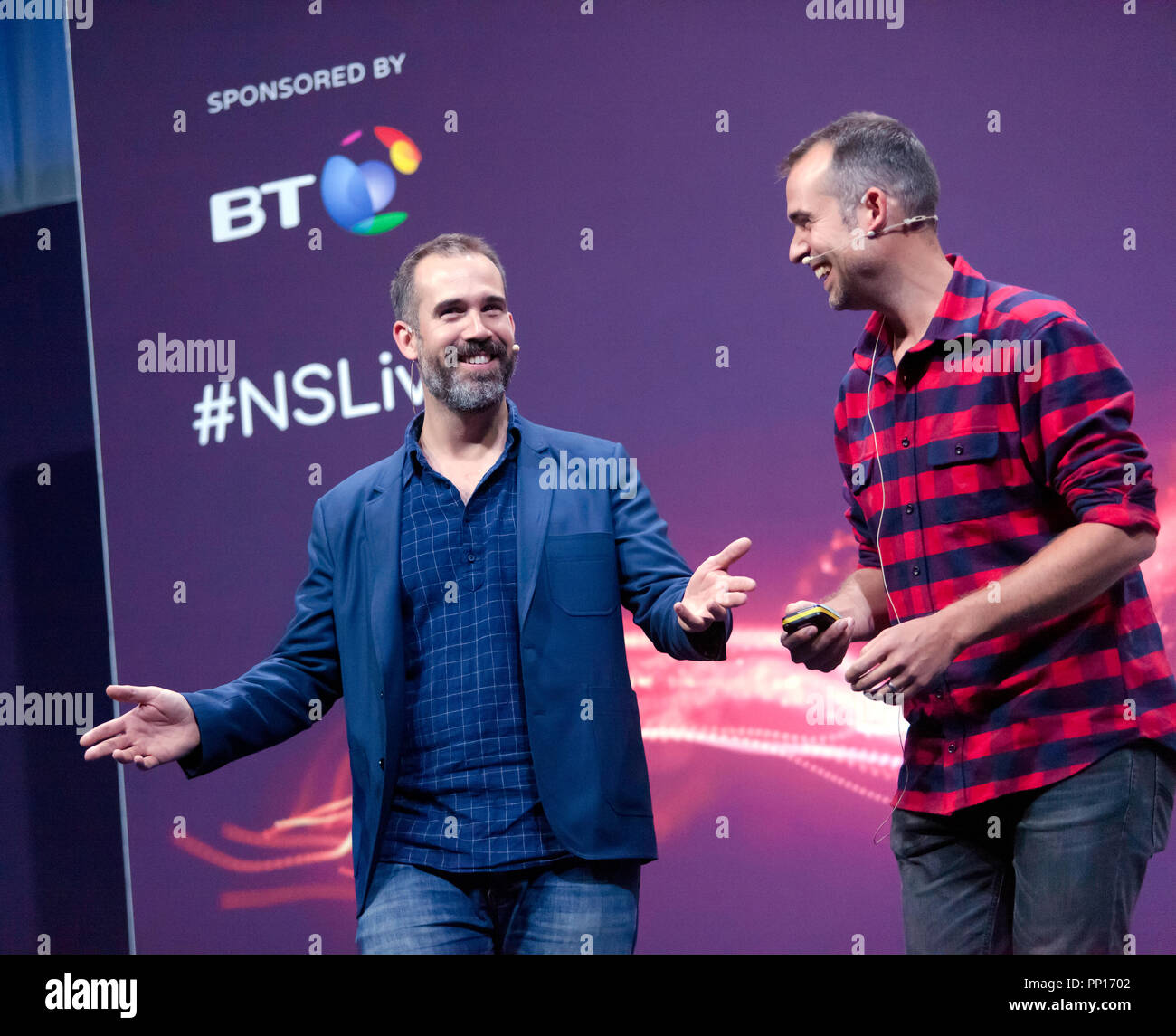 Twin doctors Chris and Xand van Tulleken explain how to lose weight, find love and live forever (without really trying), on the main stage, at New Scientist Live Stock Photo