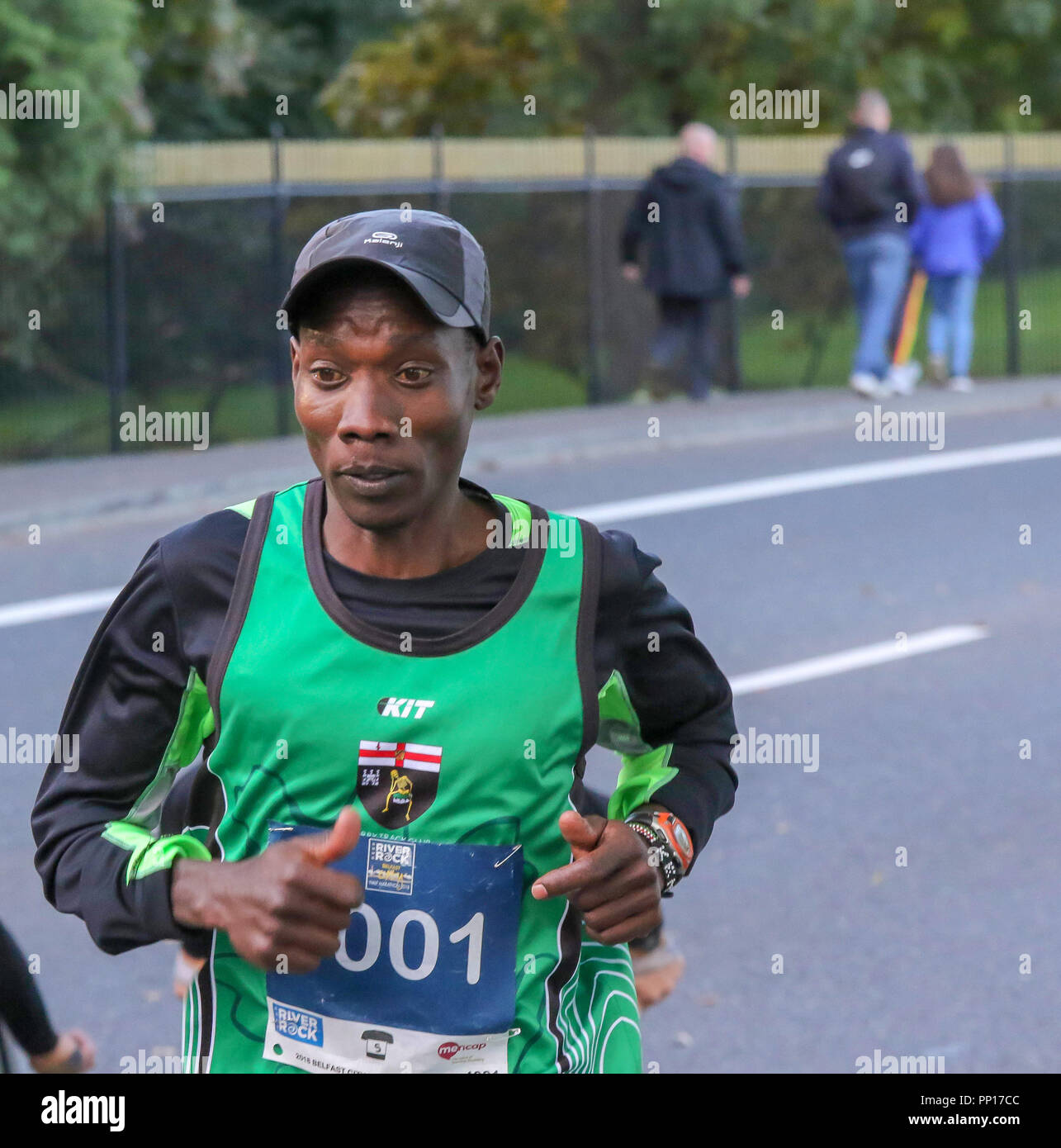 Belfast, Northern Ireland, UK. 23 September 2018. The 2018 Deep RiverRock Belfast City Half Marathon was held in Belfast this morning. The 13.1 mile event attracted more than 4,000 entrants. Gideon Kipsang on his way to winning the race - Kipsang was defending the title. Credit: David Hunter/Alamy Live News. - Stock Image