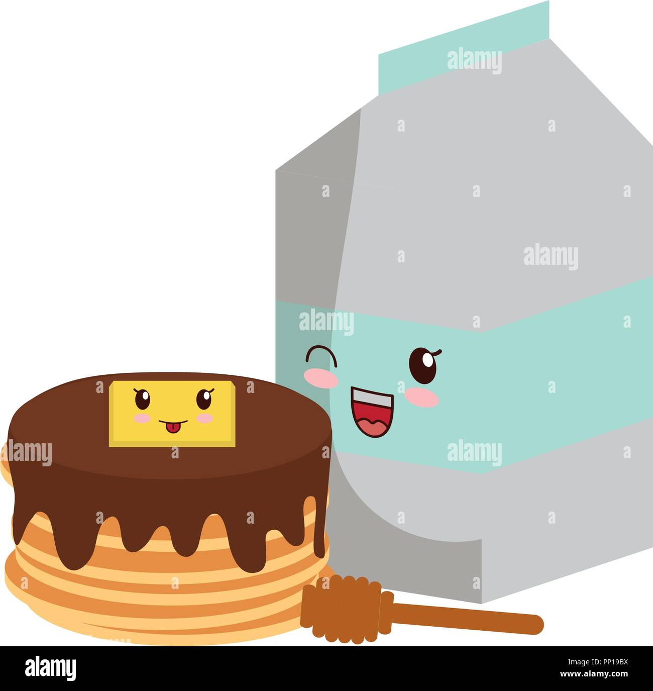 kawaii pancakes and milk box over white background, vector illustration - Stock Image