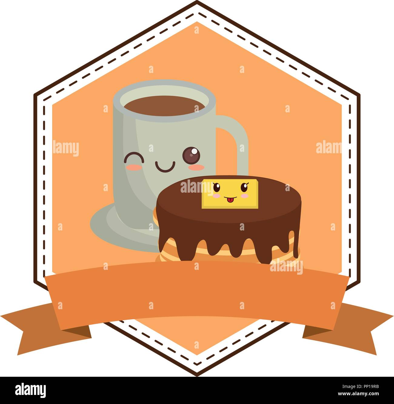 emblem with kawaii pancakes with coffee cup over white background, vector illustration - Stock Image