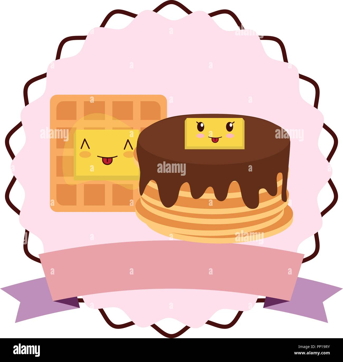 emblem with kawaii pancakes and waffle over white background, vector illustration - Stock Image