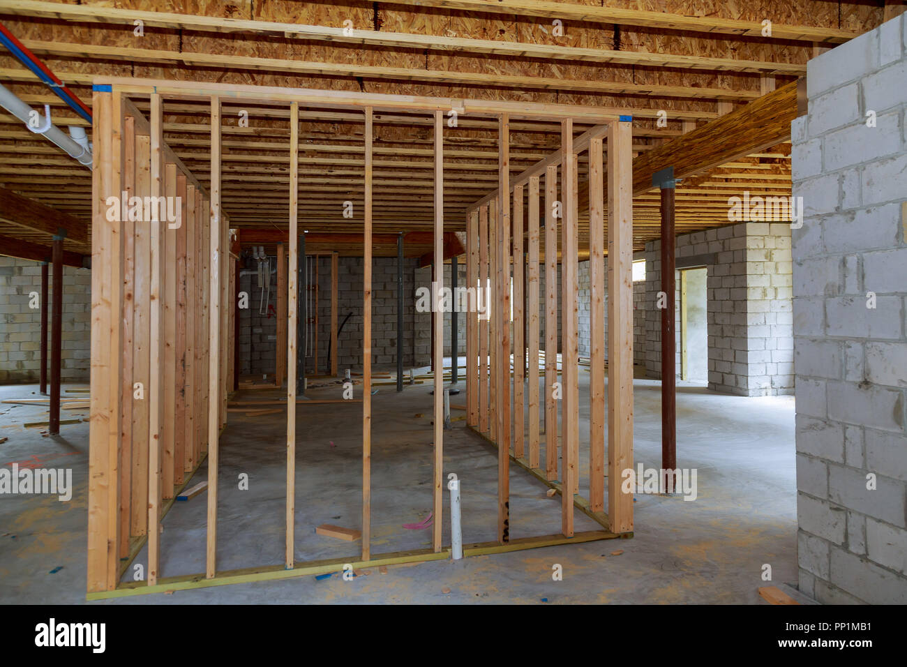 Basement Construction Interior Wall Framing Renovation New Home Construction Stock Photo Alamy