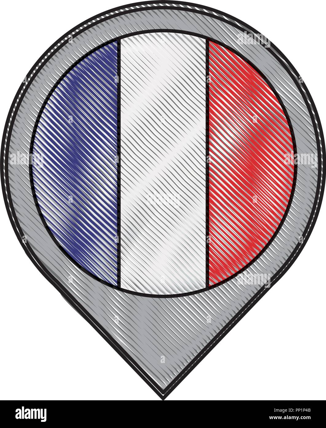 pointer map flag french paris location vector illustration - Stock Image