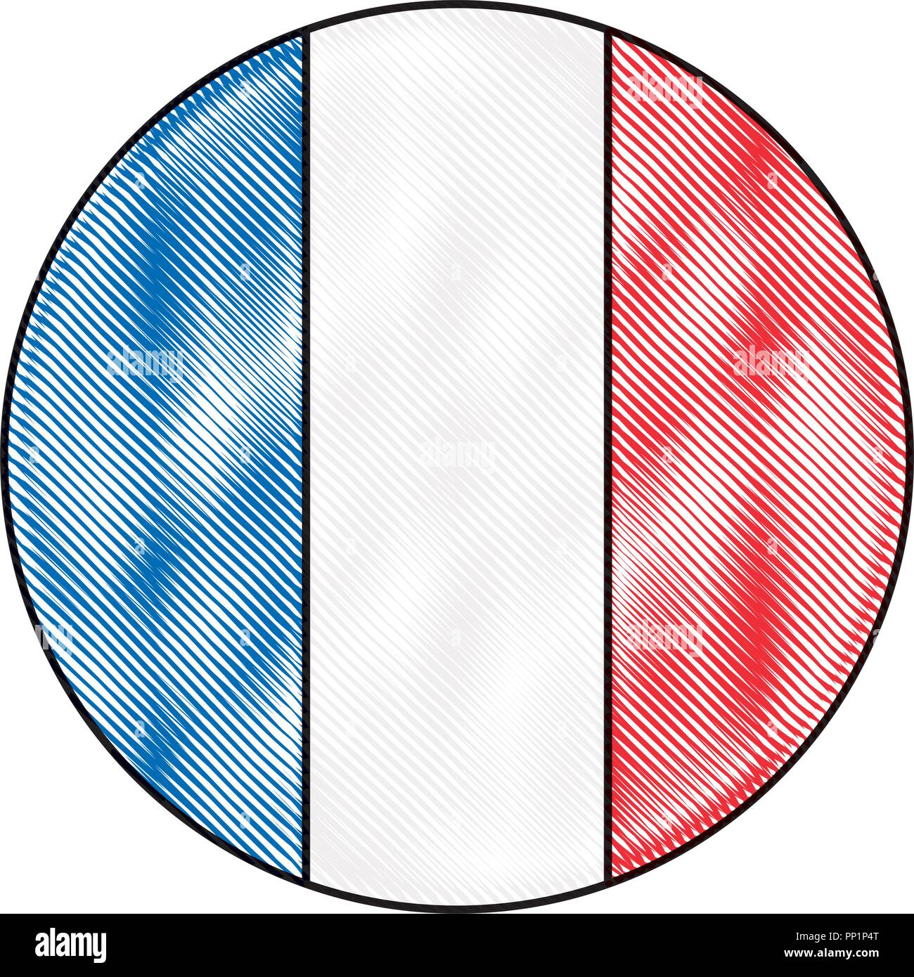 french paris flag in button icon vector illustration - Stock Image