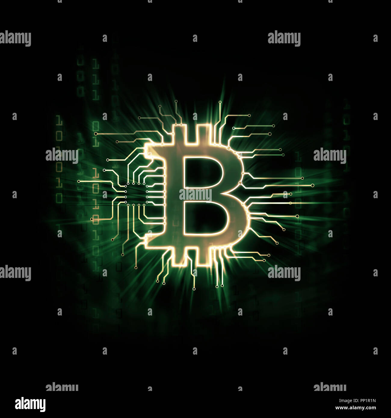 Glowing green Bitcoin ₿ cryptocurrency, digital decentralized currency symbol, conceptual illustration of a bitcoin connected to a blockchain network  Stock Photo