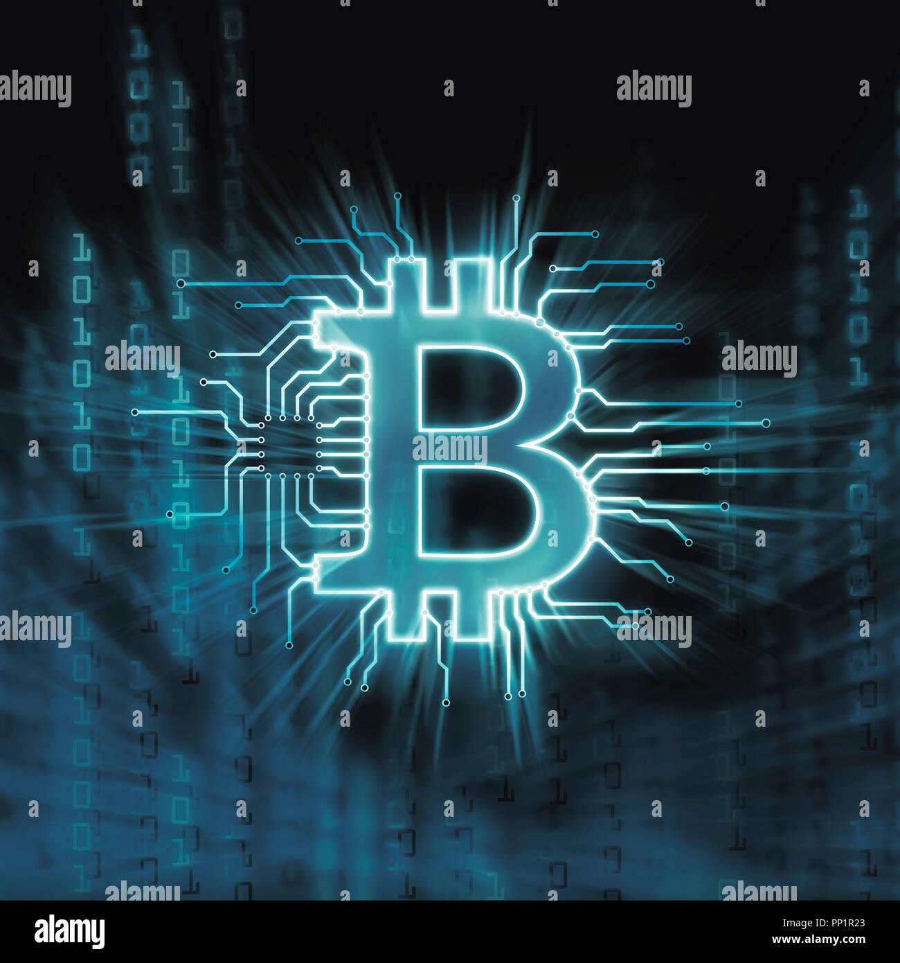 Bitcoin ₿ cryptocurrency, digital decentralized currency symbol, conceptual illustration of a bitcoin connected to a blockchain network. - Stock Image