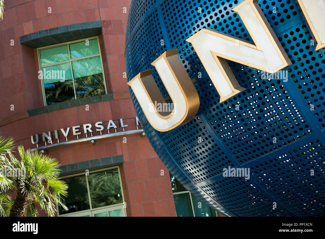 A logo sign outside of the headquarters of Universal Music Group in