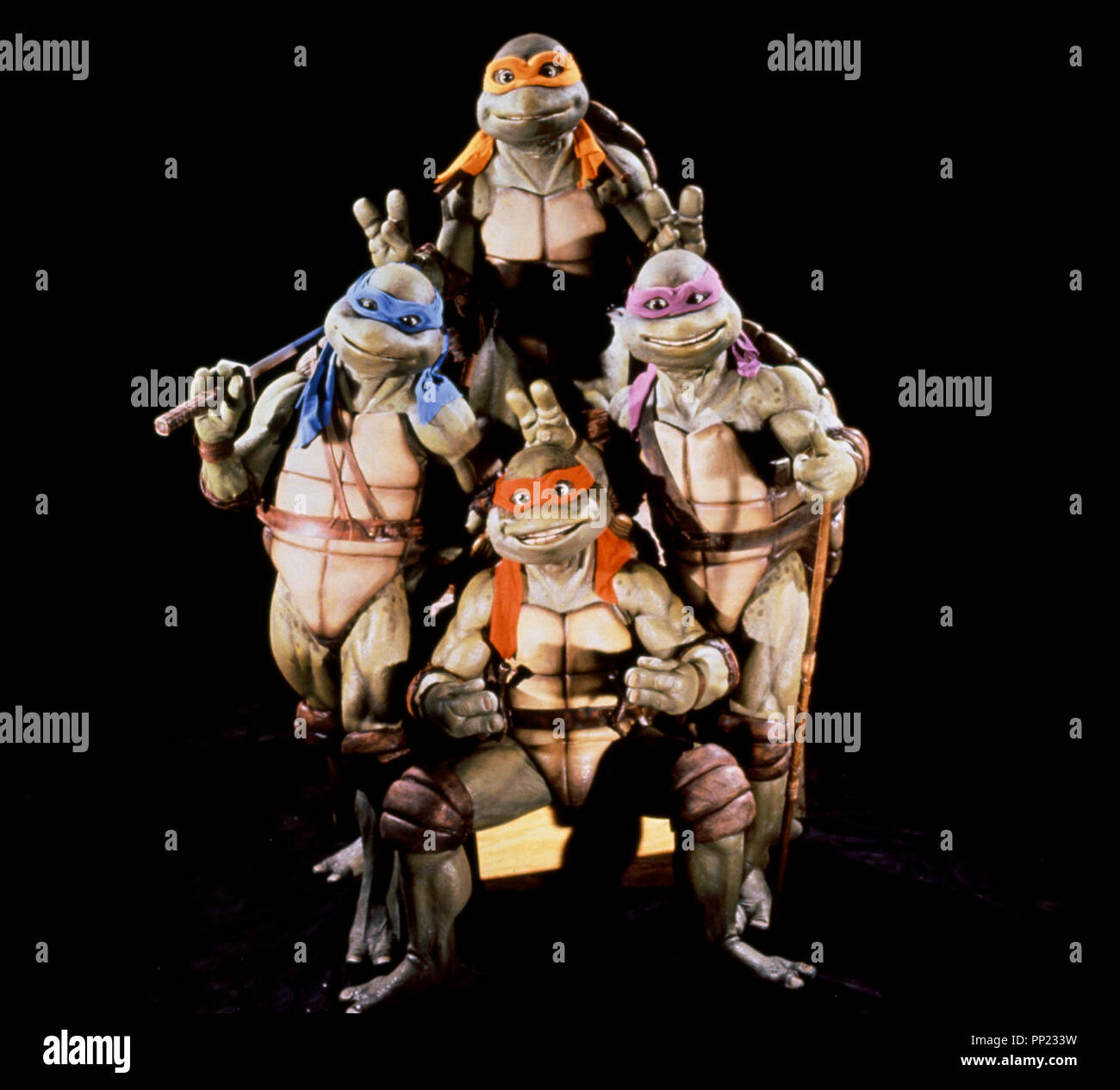 Prod DB © Mirage Productions - New Line Cinema / DR LES TORTUES NINJA (TEENAGE MUTANT NINJA TURTLES) de Steve Barron 1990 USA/HK fantastique, monstre, mutant, photo de groupe d'apres les personnages de Kevin Eastman et Peter Laird - Stock Image
