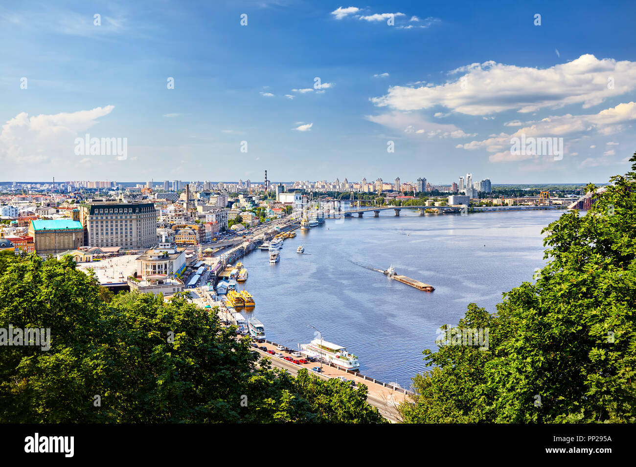 Panorama over the Kiev, view from the city hill towards the Dniepr river bank and downtown. - Stock Image