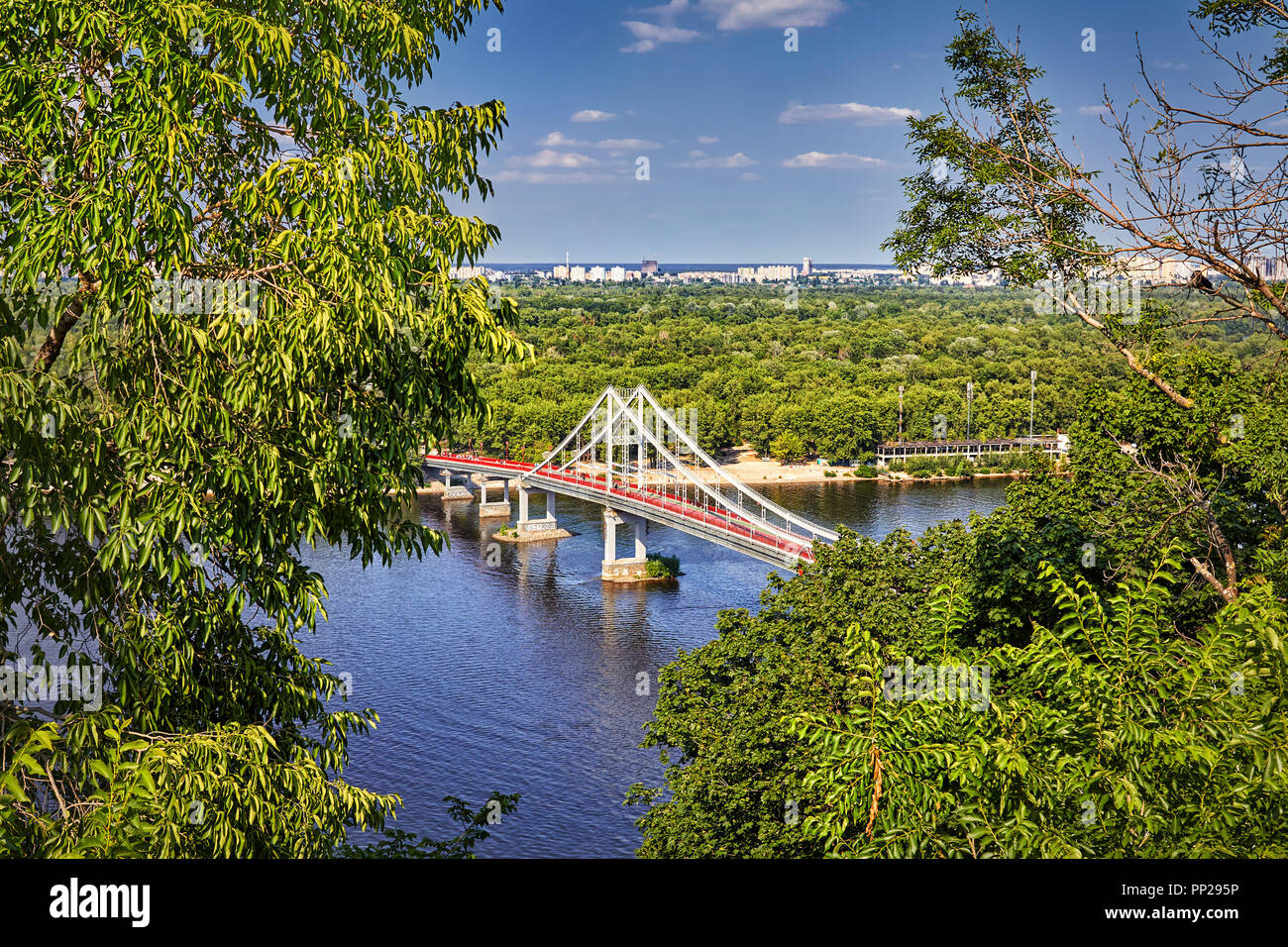 Aerial view to walking bridge crossing Dnepr river in Kiev, Ukraine - Stock Image