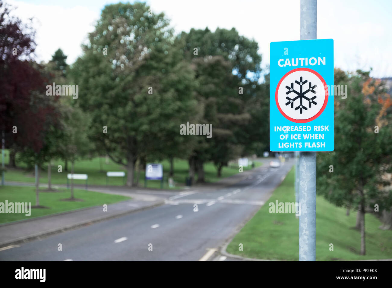 Ice risk road safety sign for winter weather - Stock Image