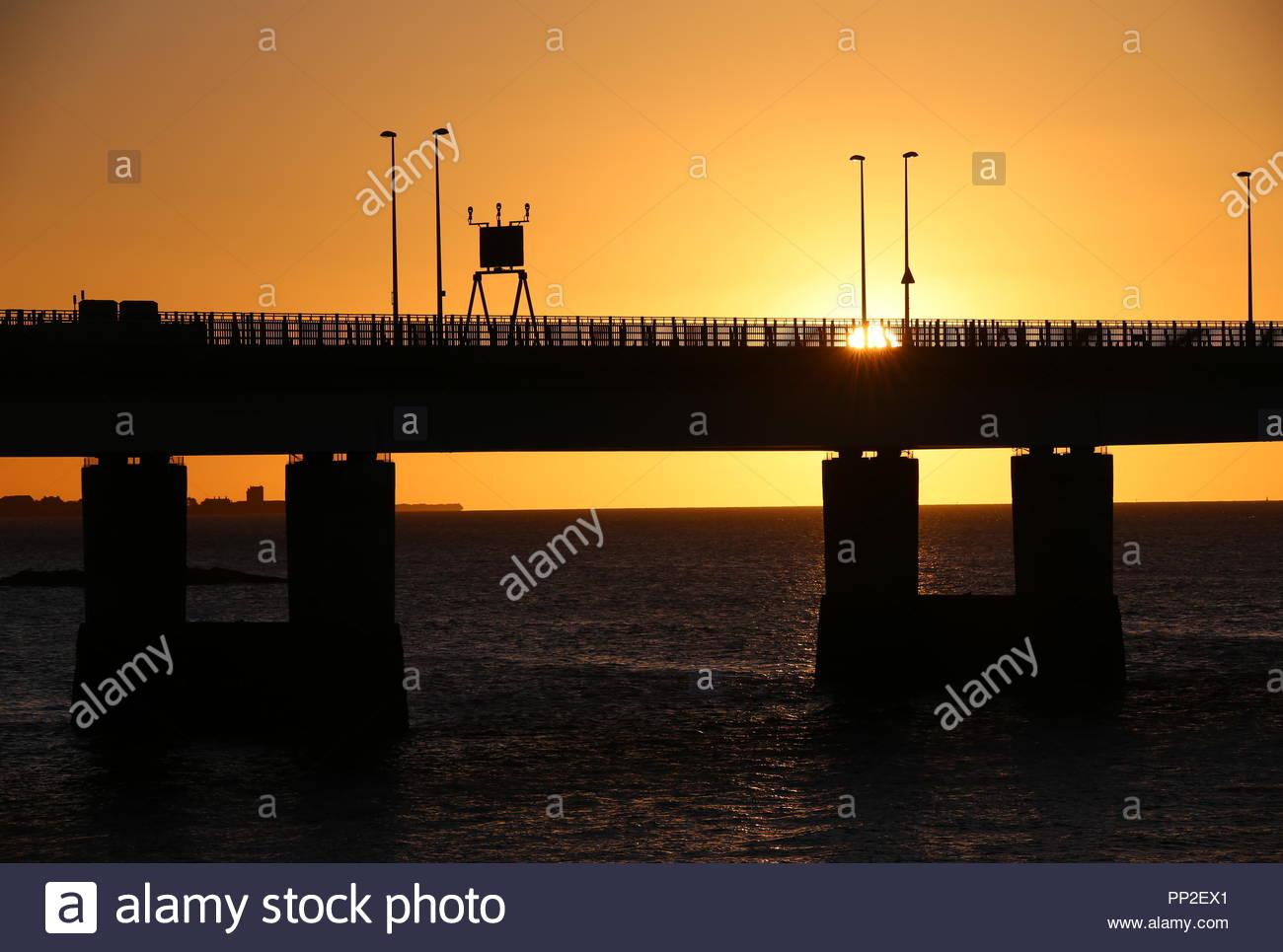 Silhouette of Tay Road Bridge at sunrise Dundee Scotland  September 2018 - Stock Image